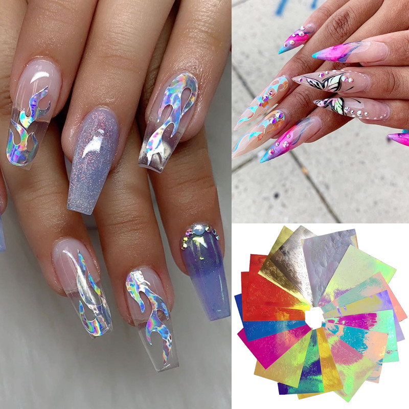 16pcs Holographic Fire Flame Nail Stickers 3d Glitter Laser Flames Nail Art Foil Transfer Sticker Decal Decorations Set Buy At The Price Of 2 95 In Aliexpress Com Imall Com