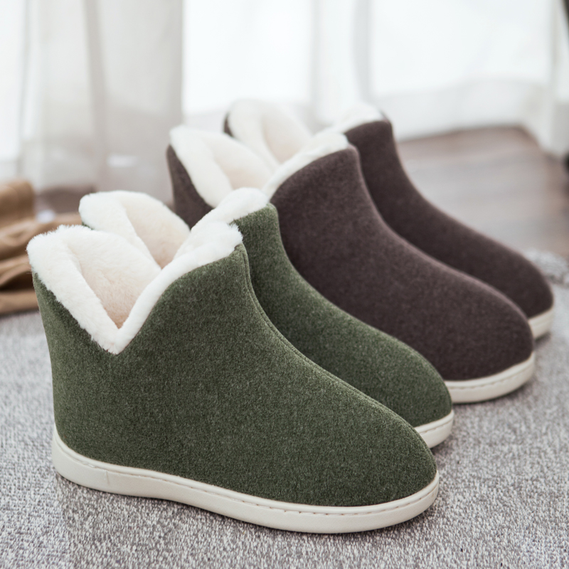 ANMAIRON Large Size Multi-color Optional Flock Snow Boots Ankle Slip-On Round Toe Womens Shoes Flat Solid Plush Shallow Boots  - buy with discount