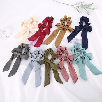 New Solid Color Bow Large Intestine Circle Hair Head Horsetail Ribbon Fabric Satin Ornament Headdress