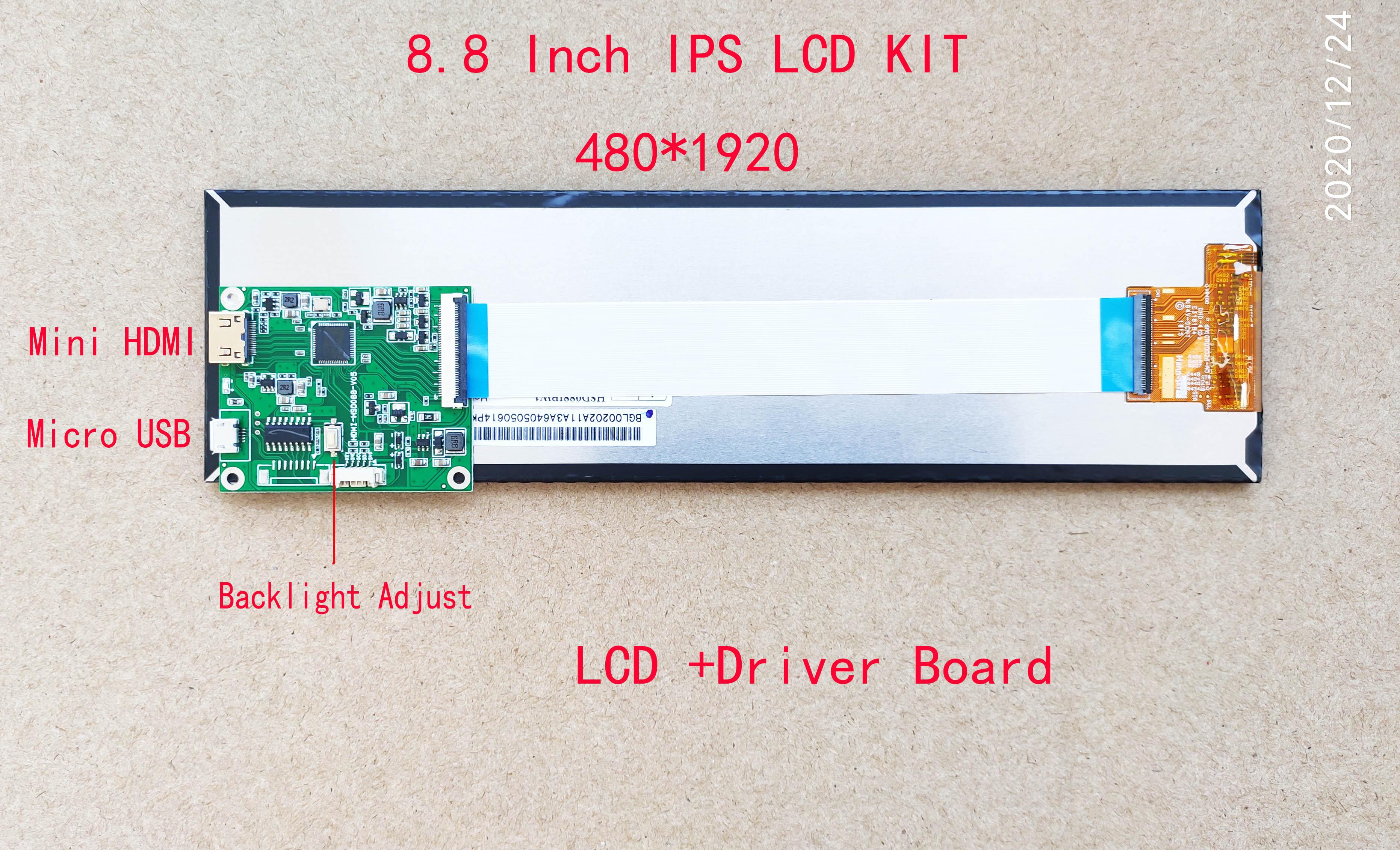 8.8 polegada ips longa faixa de exibição esticada barra hdmi para mipi aida64 monitor usb 5v potência segundo display magro 1920*480 caso