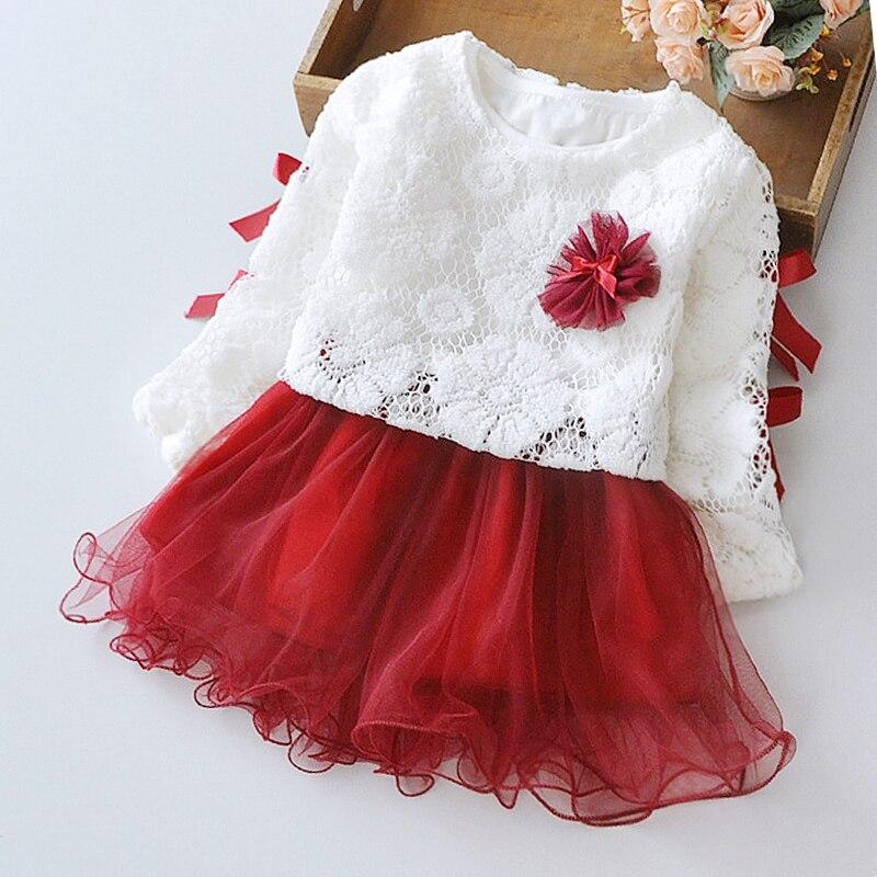 Menoea Baby Clothing  Spring Pink Girls Dresses Long Sleeve Tutu Bow Velvet Infants Dress Double