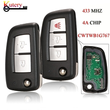 Kutery Folding Remote Car Key For Nissan Qashqai Juke X Trail Micra 2/3Buttons 433MHZ 4A PCF7952E Chip CWTWB1G767