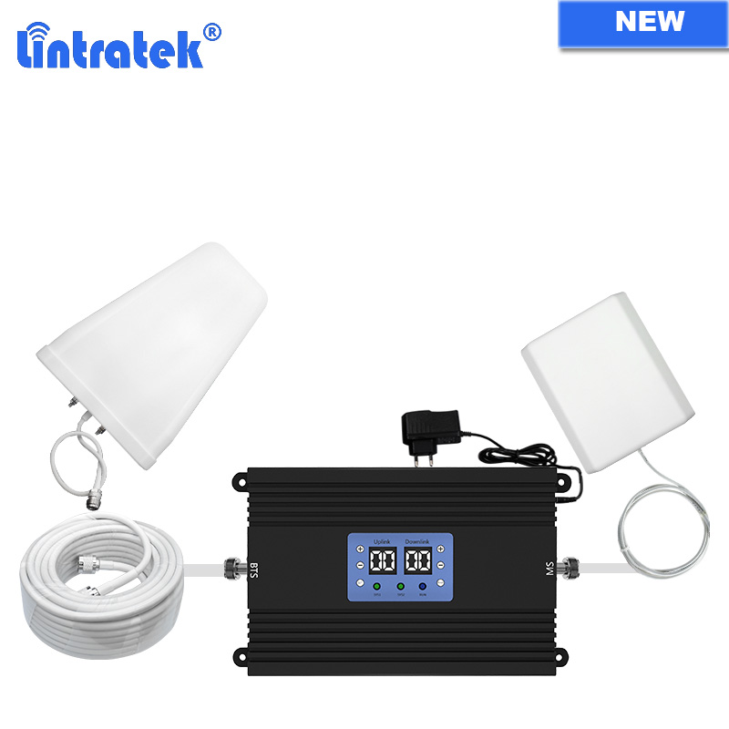 Lintratek NEW GSM 900 LTE 1800 4G Signal Booster B3 DCS AGC MGC GSM Repeater Cell Phone Amplifier Cellular Full Kit 80dB 25dBm 2