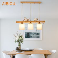 AIBIOU Bird Deco LED Pendant Lights With Glass Lampshade For Dining Room Wooden Cord Pendant Lamp Adjustabale E27 Bar Hanglamp free shipping ac90 260v avintage cord pendant lights clear glass lampshade edison bulb pendant lamp for dining room ktv bar