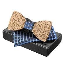 Деревянные Галстуки Галстук-бабочка набор носовой платок мужская клетчатая галстук-бабочка деревянный полый резной с подарочной коробкой модные вечерние галстуки Пейсли