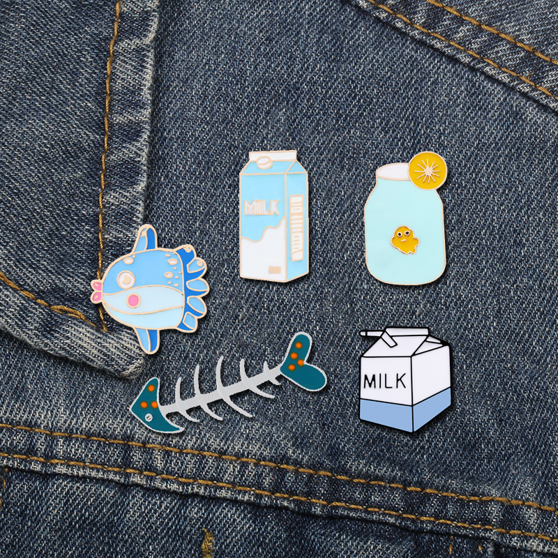 Blue Enamel Pins Collection Milk Lemon Juice <font><b>Whale</b></font> Fishbone Badge Cartoon Jewelry Brooches Lapel Pins Backpack Bag Accessories image