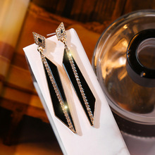 2020 Fashion Drop Earrings brincos Crystal Geometric Pendientes Black Crystal Dangle Earrings For Women Party Drop Shipping cheap RscvonM Zinc Alloy TRENDY C1682