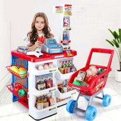 Neue Verkauf 82cm Höhe Küche Set Pretend Spielen Spielzeug Mit Licht Kinder simulation Küche Kochen Supermarkt Spielen Lebensmittel Warenkorb spielzeug D212