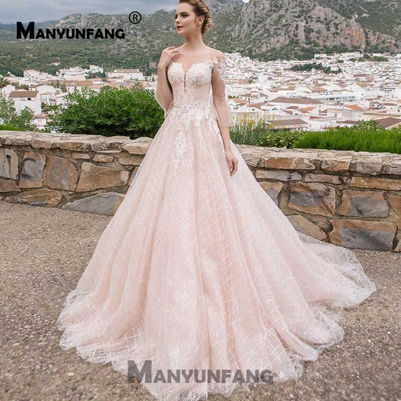 Sheer Gelinlik 2019 שלושה רובע שרוול חתונה שמלה מלא תחרה חצאית Vestido דה Noiva Praia שמפניה Trouwjurken Weddingdress
