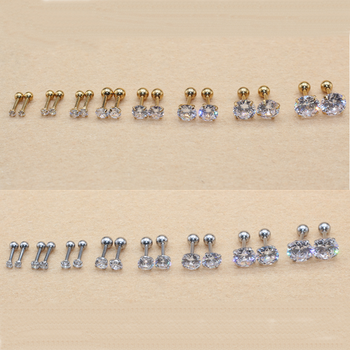 All Size 2mm to 8mm Screw-back Stud Earrings 316l Stainless steel Classical AAA Round White Zircon Earring No Fade Allergy Free titanium black vacuum plated screw back stud earrings 316 l stainless steel no fade no allergy