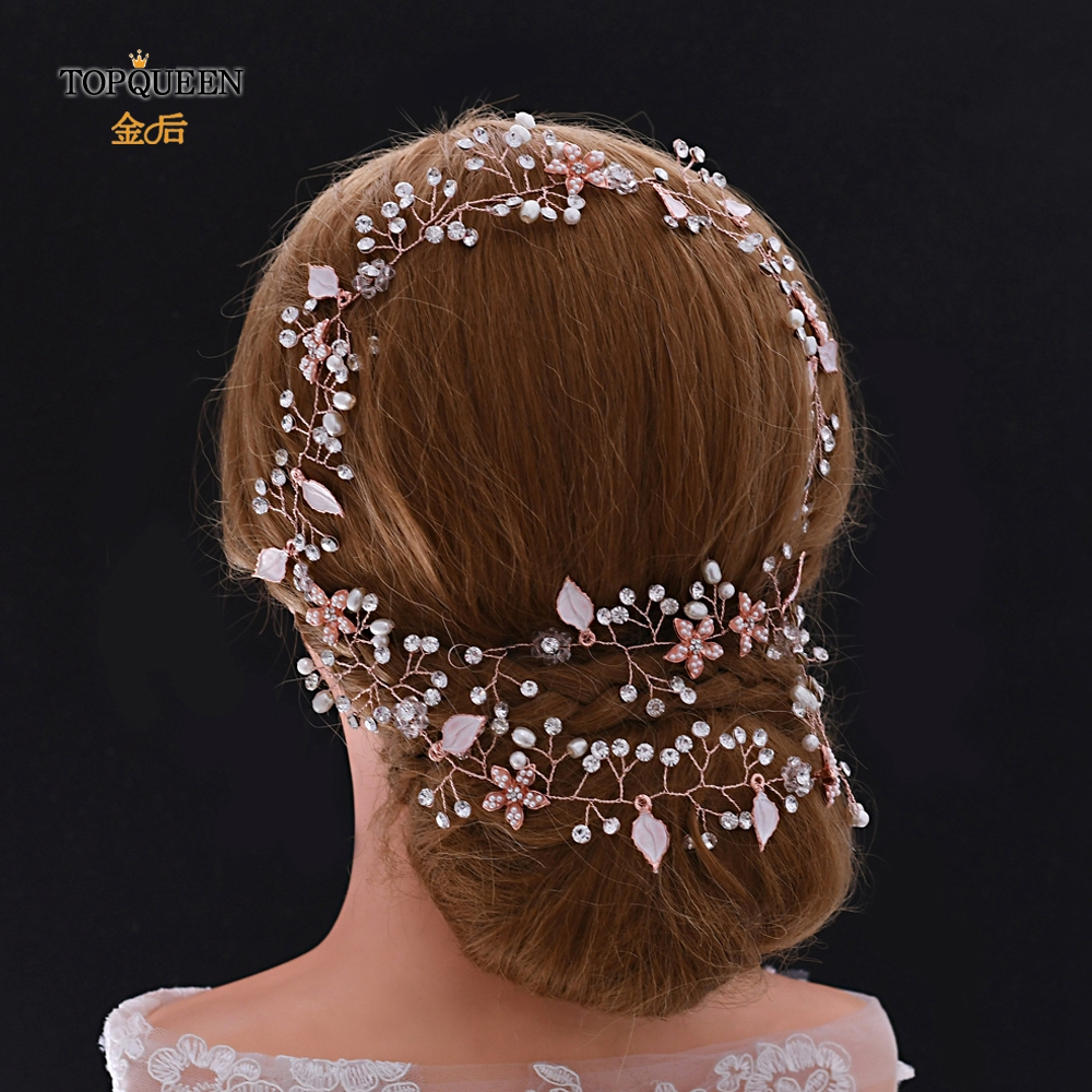 TOPQUEEN HP268 Rose Gold Crystal Hair Accessories Rose Gold Catwalk Headdress  Rhinestone Bridal Headpiece Bridal Hair Vine