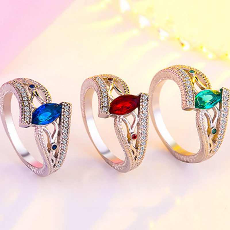 New Bohemian Style Ladies Finger Rings For Women Vintage Engagment Anillos With Stones Blue/Red/Green AAA Zircon Jewelry Gift