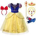 Платье принцессы белоснежное для девочек, детские костюмы с длинным рукавом-фонариком и накидкой, нарядное платье на день рождения