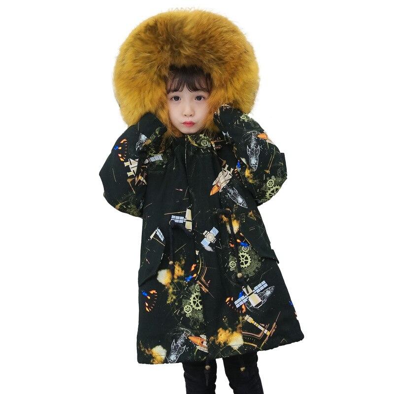 Russian Winter Girls Boys Fur Parkas Detachable Natural Rabbit Fur Liner Thick Kids Winter Jacket Real Raccoon Fur Hooded Coat - 5