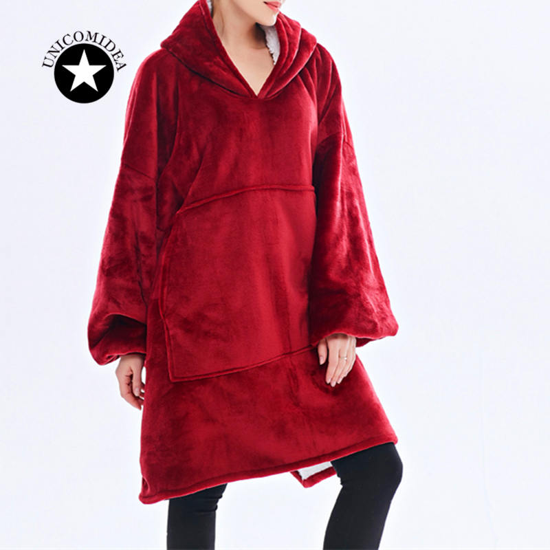 Fanmily Winter Thick Comfy Tv Blanket Sweatshirt Hooded Blanket