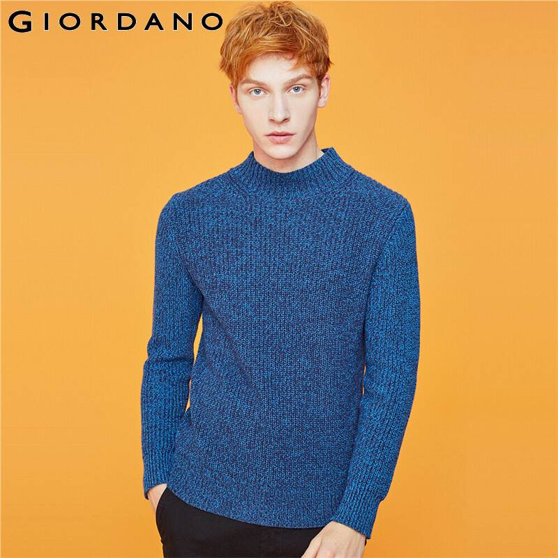 Giordano Men Sweater Mockneck Long-sleeve 7 Needle Knitted Sweater Slightly Thick Warm Chompas Para Hombre 01059885