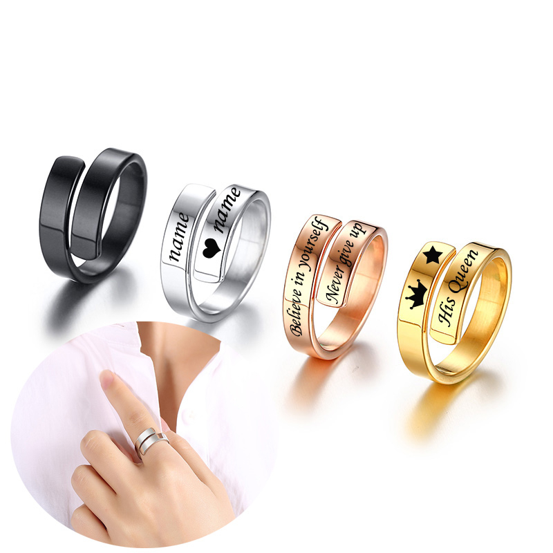 Personalized Engraved Name Rings Stainless Steel Custom Positive Inspirational Quote Cuff Mantra Ring For Women Friend Gifts