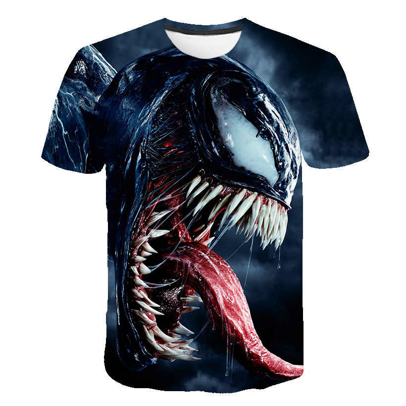 Harajuku poison eye print T-shirt men and women movie T-shirt marvel hero venom 3D T-shirt men's latest hip hop Christmas Eve sh