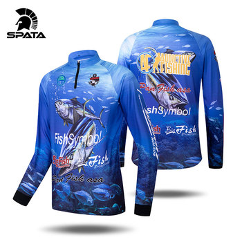 SPATA New breathable fishing shirts men cycling long sleeve tuna fishing clothes anti uv sun protection quick dry fishing jersey 2020 quick dry custom cycling jersey fishing jersey quick dry fishing long sleeve motocross cycling clothing downhill jersey