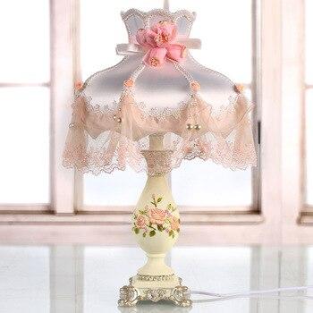 Princess Table Lamp home lights Resin Lamp Fabric Lace Shade E27 bulb lamp desk Girl's table lights bedroom bedside lamp D43