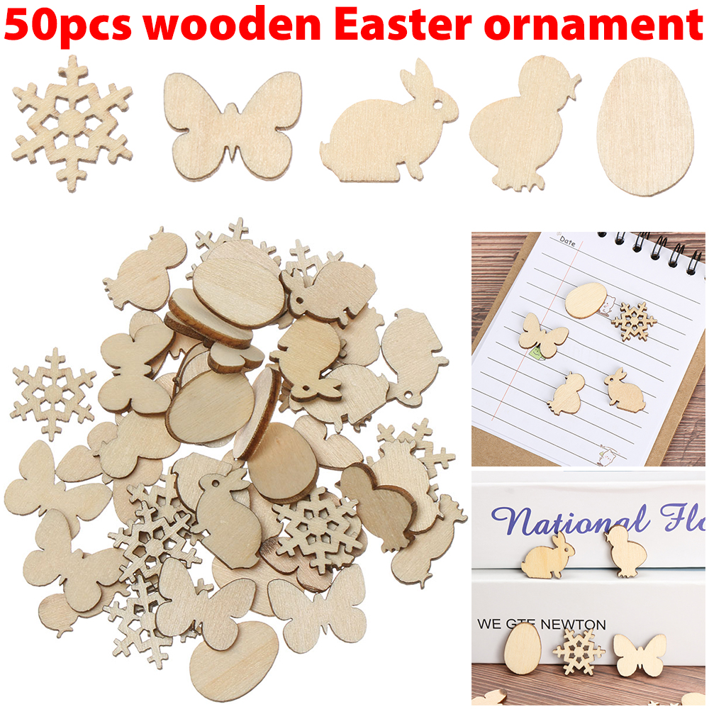 50pcs Laser Cut Wood Easter Egg And Rabbit Wooden Shape Craft Wedding Decor