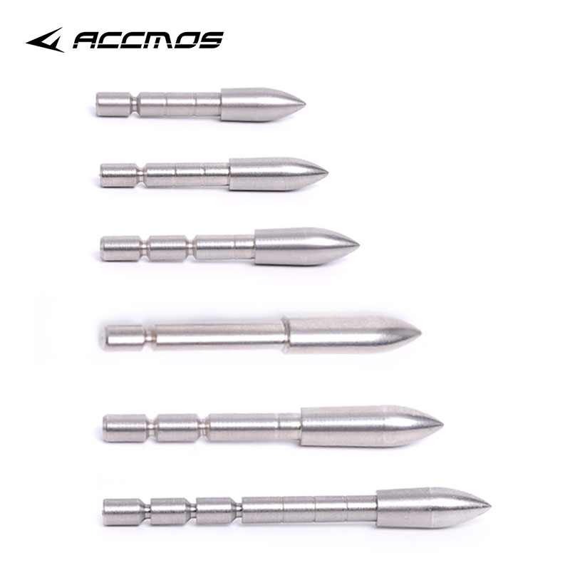 DIy 70 80 90 100 110 120 Grain Stainless Steel Bullet Point Tip For ID 4.2 mm Arrow Shaft Accessories Archery Bow Hunting