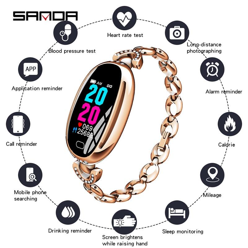 Femmes élégantes montre intelligente moniteur de fréquence cardiaque tension artérielle Smartwatch IP67 étanche diamant Bracelet intelligent pour IOS Android