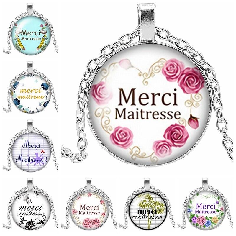 2019 novo clássico colar francês merci maitresse palavra padrão de vidro cabochão colar artesanal arte presente colar camisola corrente