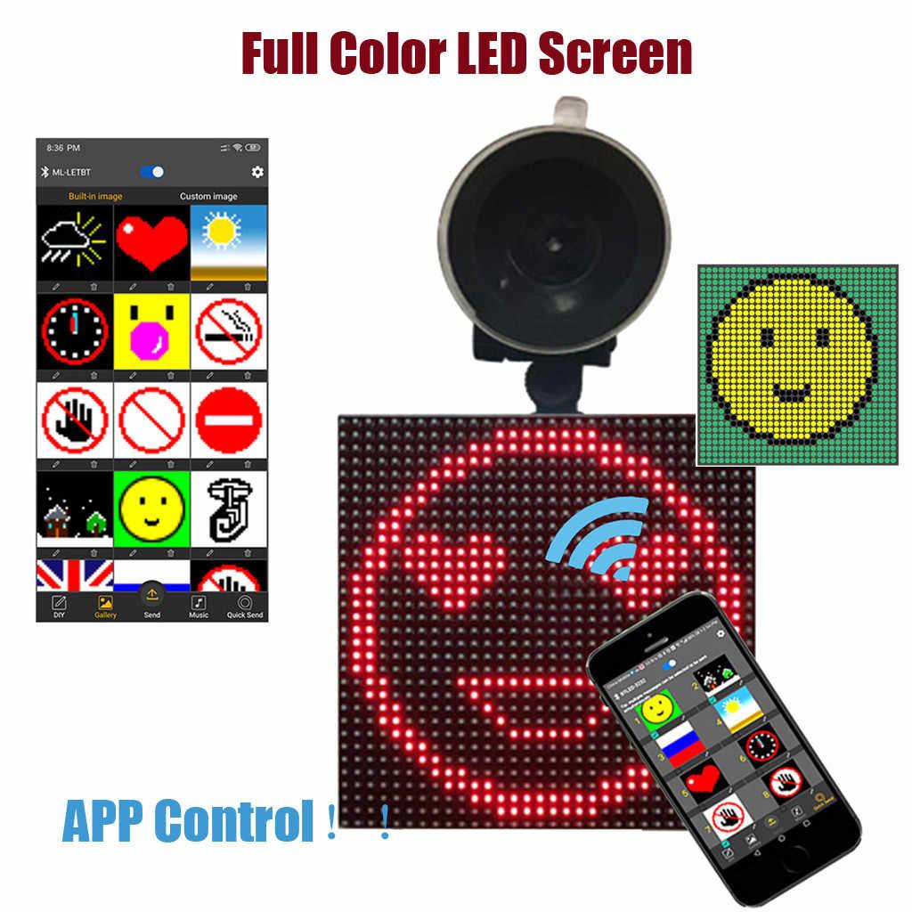 كامل اللون شاشة led سيارة عرض الرؤية توهج اللاسلكية عن بعد App التحكم خط سيارة واحدة شاحن سيارة شفط كأس # P15