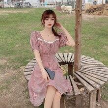Skirt Women Retro Summer Plaid Dress Square-Collar Minority Waist-Show Thin Temperament