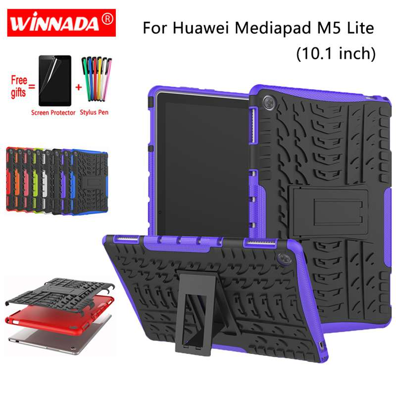 For Huawei Mediapad M5 Lite Case 10.1 Inch BAH2-L09  BAH2-W19 Armor Case Tablet Silicone TPU+PC Shockproof Stand Cover +pen+Film