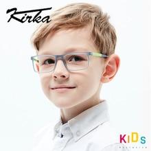 Kirka ילדים משקפיים TR90 גמיש מסגרות משקפיים ילדי מסגרת אופטית ילדים ילדי גריי משקפיים עבור 6 10 שנים