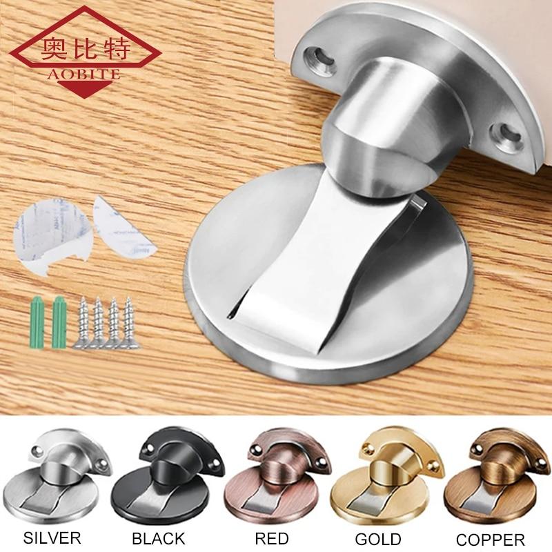 AOBT Magnet Door Stops Magnetic Door Stopper Non-punch Six Colors Available Door Holder Hidden Doorstop Furniture Door Hardware