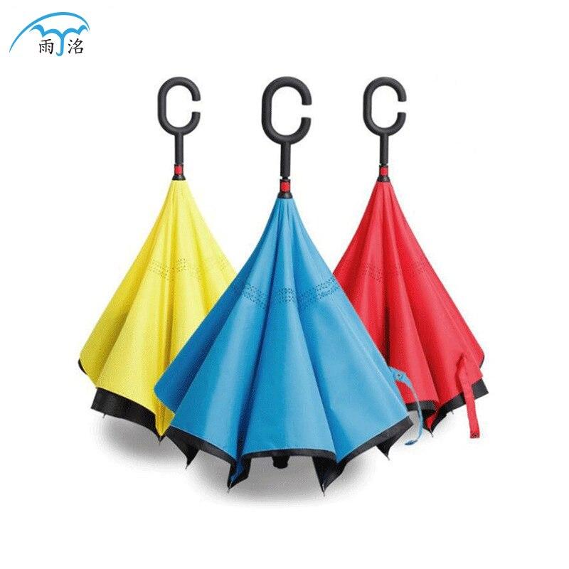 Customizable Creative Double Layer C- Shape Hands-Free Car Reverse Umbrella Wholesale Rain Or Shine Reverse Umbrella Can Be Prin