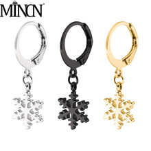 MINCN fashion popular titanium steel stainless snowflake pendant earrings round French buckle hypoallergenic ear
