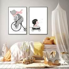 Stile nordico bambino stampa animale Wall Art Poster orso e ragazza equitazione Gioia tela pittura decorazione della casa per la camera dei bambini camera da letto
