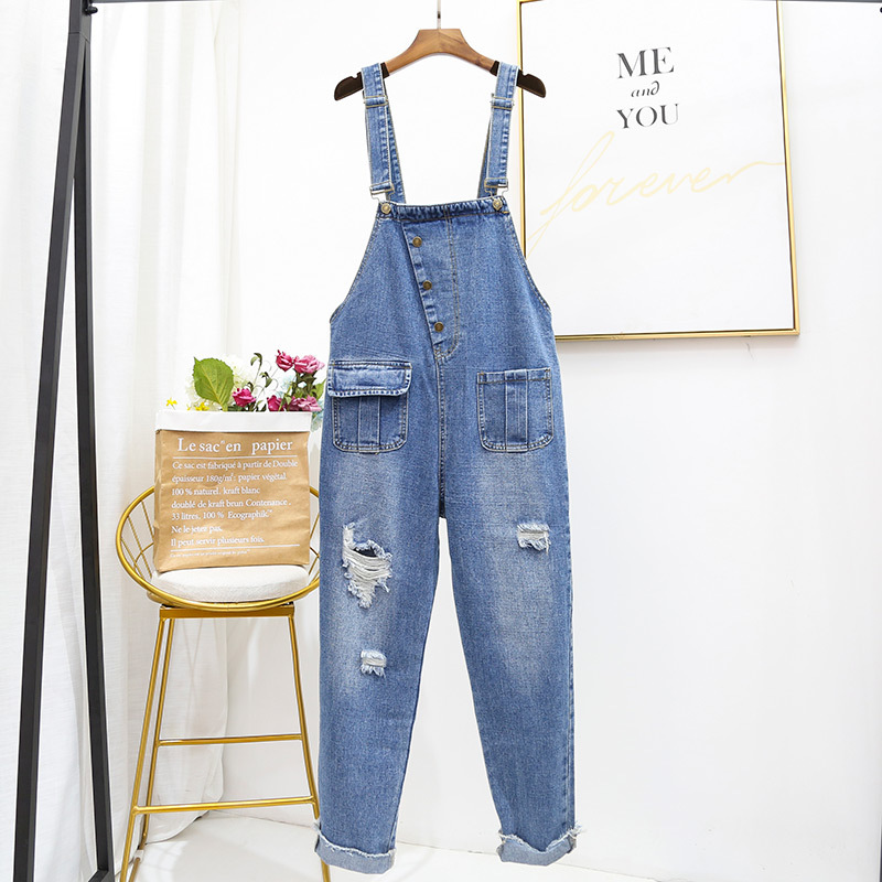 Oversized Hole Ripped Jeans Jumpsuits Women Baggy Suspenders Overalls for Women High-waisted Cotton Denim Jeans Jumpsuits 5XL