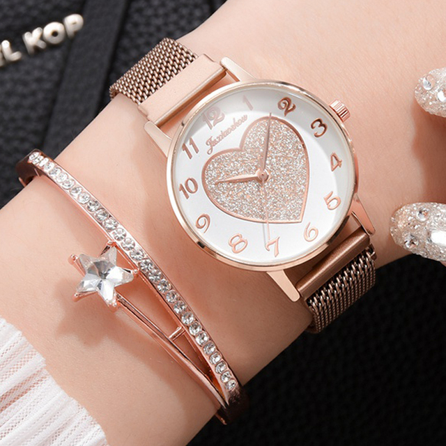 2pc/set Luxury Brand Women Watches Love Magnet Watch Buckle Fashion Casual Female Wristwatch Roman Numeral Simple Bracelet