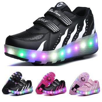 Rozmiar 28-40 Led koła trampki dla dzieci dorosłych USB ładowania świecące rolki Skate ze światłami podwójne Wheely na pięcie dzieci tanie i dobre opinie 3-6y 7-12y 12 + y CN (pochodzenie) CZTERY PORY ROKU Damsko-męskie Dobrze pasuje do rozmiaru wybierz swój normalny rozmiar