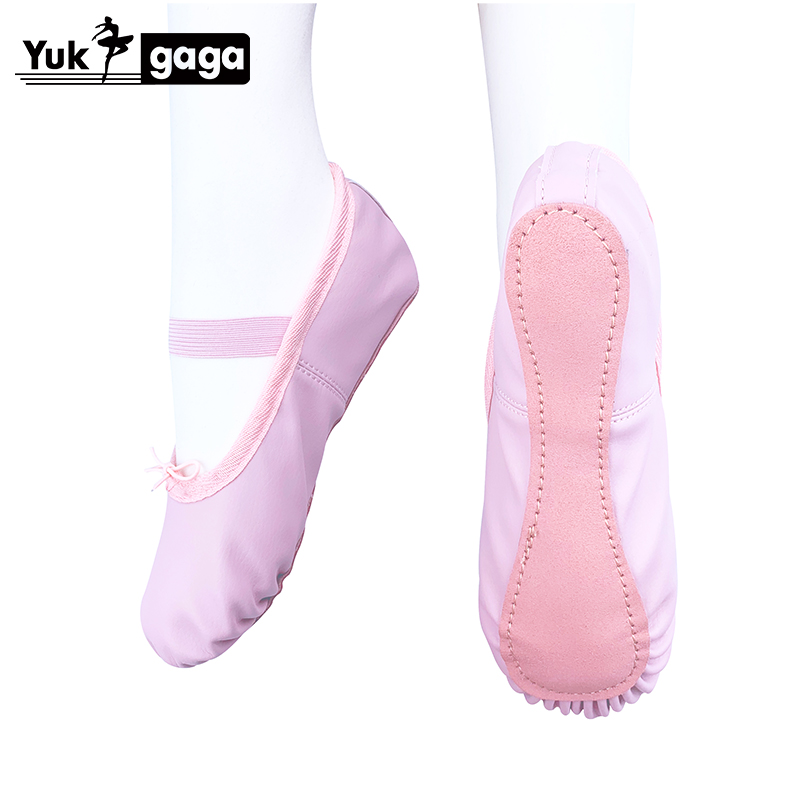 Hot Sell Soft Pink Flat Teacher Ballet Shoes Kids For Girls Women PU Leather Ballet Shoes Children