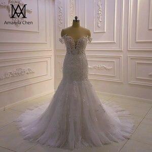 Image 1 - באיכות גבוהה תפור לפי מידה כבוי כתף בת ים Sheer חתונה שמלה