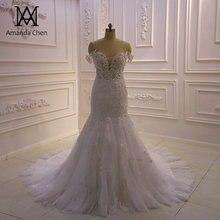 Wysokiej jakości Custom Made Off Shoulder Mermaid Sheer suknia ślubna