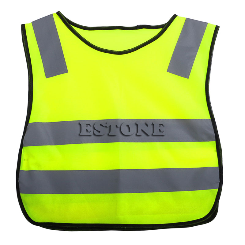 Safety Hi Vis Children Waistcoat Vest Grey Reflective Strips Traffic Clothes M5TB
