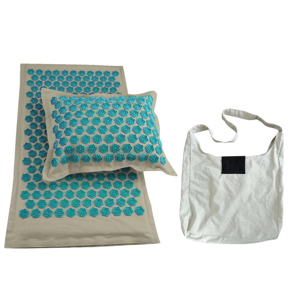 Lotus Yoga Mats with Acupressure Massage and Pillow Set of High quality Cotton and Linen available with Spike Cushion 1