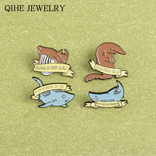 Shark Creative Brooches Quote Funny Saying Meme Banner Sea Animals Soft Enamel Pins Button Cartoon Badges Wholesale Jewelry(China)
