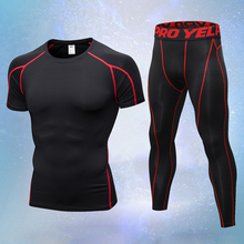 2PCS Compression Quick Dry Tight Tracksuit Men Training Fitness Short Sleeve Shirt and Long Pants  Set Sport Suit yd new compression tight basket soccer tracksuit men training fitness long sleeve shirt pants male gym running set sport suit