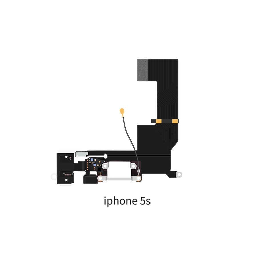 عالية الجودة محطة منفذ شحن USB موصل فليكس آيفون 5 5s 6 6s 7 8 Plus سماعة الصوت جاك ميكروفون الكابلات المرنة