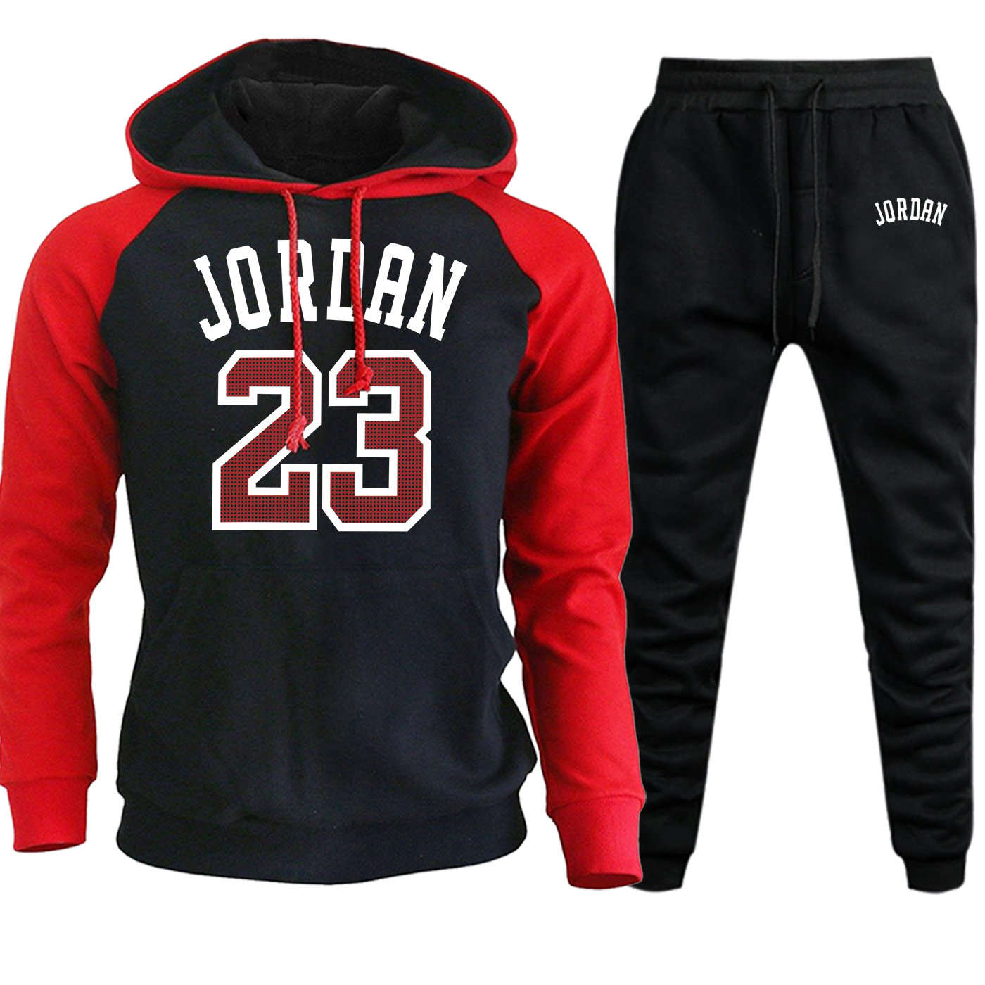 Jordan 23 Raglan Men Hoodie Sweatshirts Autumn Winter 2019 New Hip Hop Casual Pullover Suit Male Fleece Hooded+Pants 2 Piece Set