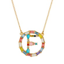 Women Men Zircon Crystal Alphabet Necklace Trendy Personalized Multi Color Circle Pendant Long Chain Gold Jewelry Gift