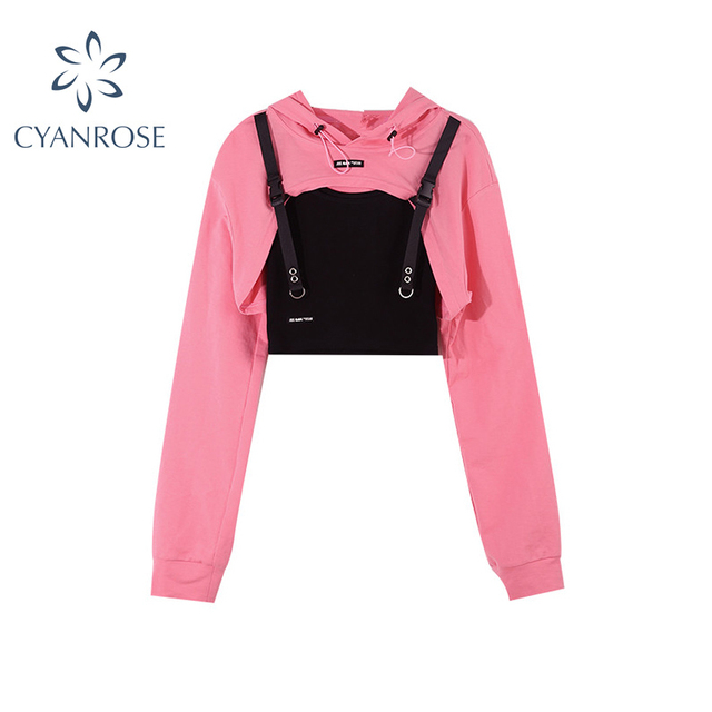 Women Fashion Casual Sexy Punk Goth Hoodie Long Sleeve Stylish Crop Top Spring Autumn Pullover Thin Sweatshirt Pink Tracksuit 1